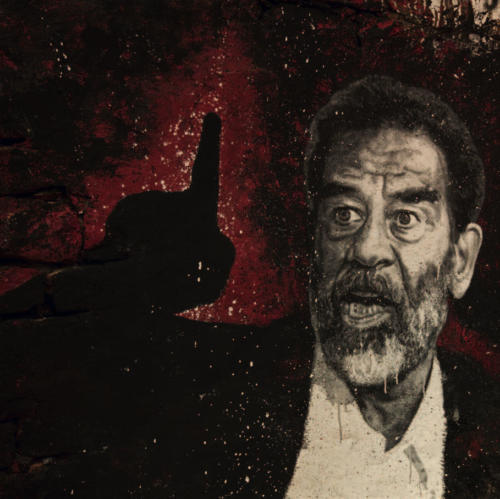 Saddam Hussein pendant son procès en 2004